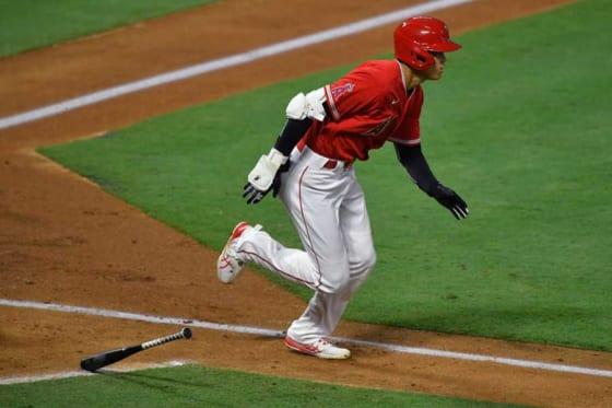 右翼線への二塁打を放ったエンゼルス・大谷翔平【写真:Getty Images】