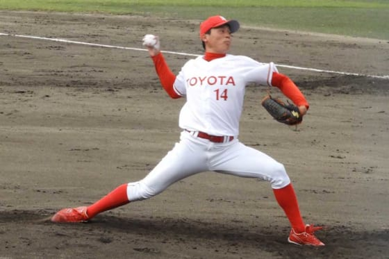 Honda鈴鹿戦で完投したトヨタ自動車・栗林良吏【写真:福岡吉央】