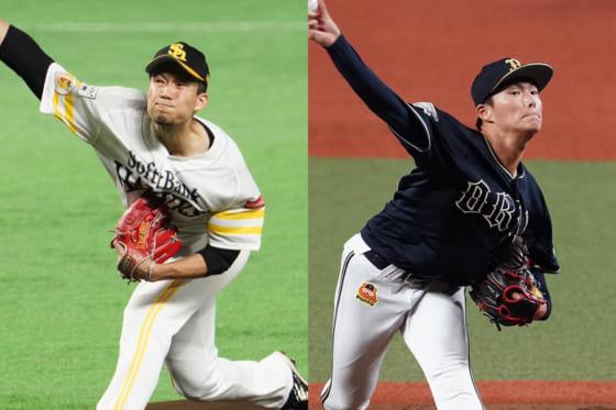 ソフトバンク・千賀滉大(左)とオリックス・山本由伸【写真:荒川祐史】
