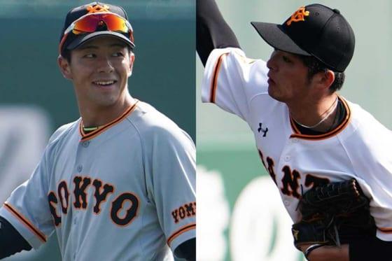 巨人・湯浅大、 沼田翔平(左から)【写真:荒川祐史】