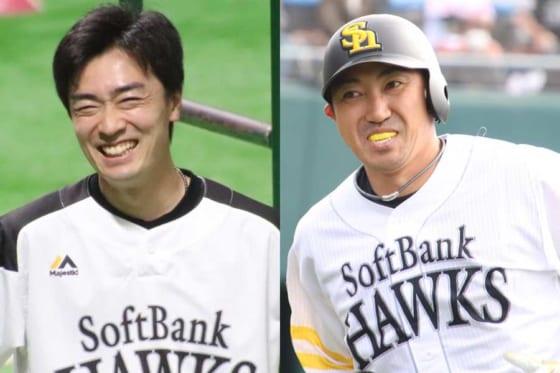 ソフトバンク・和田毅(左)とヤクルトに移籍した内川聖一【写真:福谷佑介】