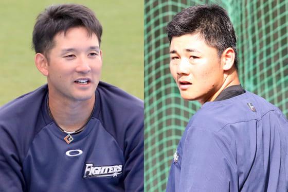 日本ハム・杉谷拳士(左)と清宮幸太郎【写真:石川加奈子】
