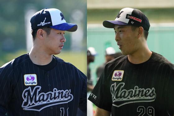 ロッテ・種市篤暉(左)と西野勇士【写真:荒川祐史】