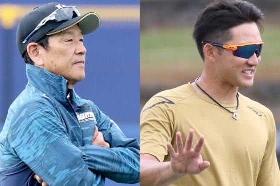 日本ハム・栗山英樹監督(左)と杉谷拳士【写真:石川加奈子】