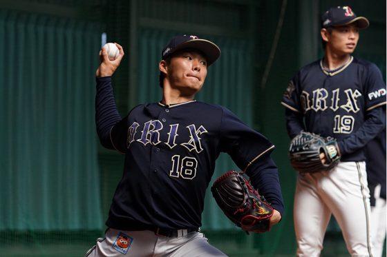 ブルペン入りしたオリックス・山本由伸(左)と山岡泰輔【写真:荒川祐史】