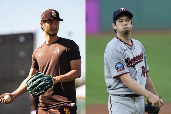 パドレス・ダルビッシュ有(左)とツインズ・前田健太【写真:Matt Thomas / San Diego Padres、AP】