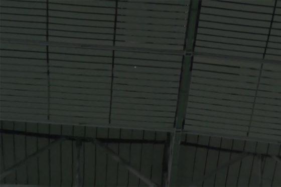 巨人・岡本和真の打球が天井に直撃【画像:パーソル パ・リーグTV】