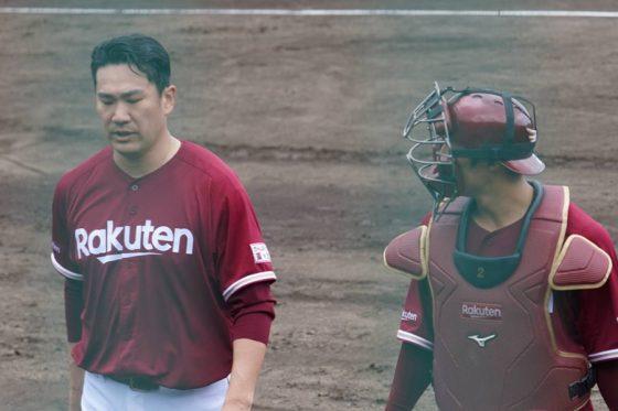 楽天・田中将大(左)と太田光【写真:宮脇広久】