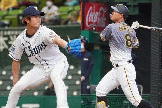 先発した西武・今井達也(左)と本塁打を放った阪神・佐藤輝明【写真:宮脇広久】