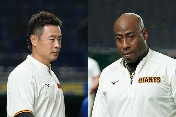 巨人・亀井善行(左)とウィーラー【写真:荒川祐史】