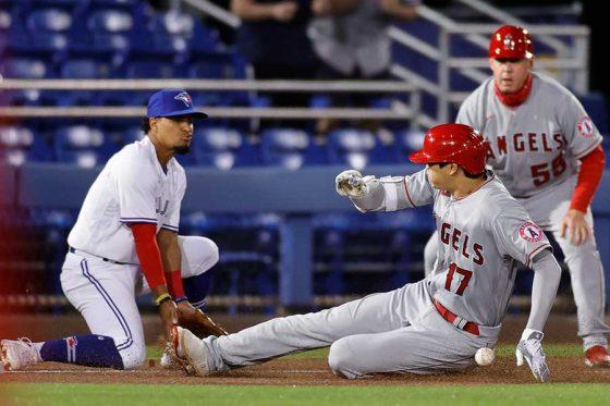 ブルージェイズ戦で快足を飛ばし三塁を陥れるエンゼルス・大谷翔平【写真:Getty Images】