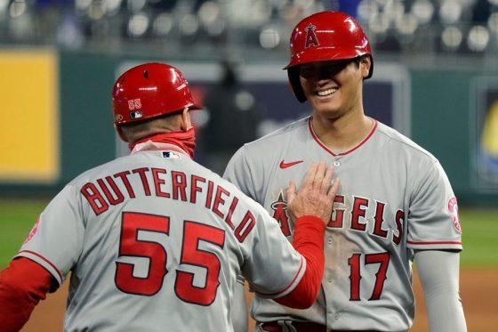 右越え2点二塁打を放ったエンゼルス・大谷翔平【写真:Getty Images】