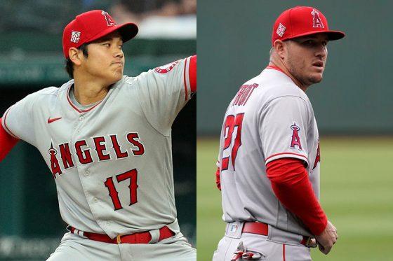 エンゼルスの大谷翔平(左)とマイク・トラウト【写真:AP、Getty Images】