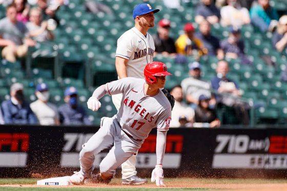 「2番・DH」で先発し2盗塁を決めたエンゼルス・大谷翔平【写真:Getty Images】