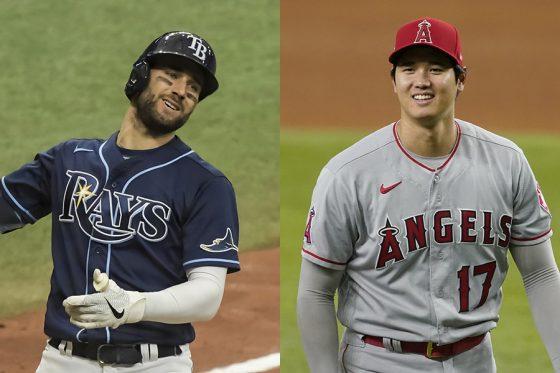 レイズのケビン・キアマイアー(左)とエンゼルス・大谷翔平【写真:AP】