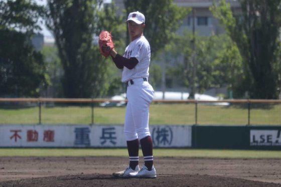 3番手で登板した常総学院・中林永遠【写真:川村虎大】