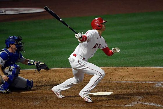 第4打席で右翼フェンス直撃の二塁打を放ったエンゼルス・大谷翔平【写真:Getty Images】