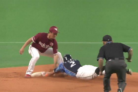 二盗を決める日本ハム・杉谷拳士【画像:パーソル パ・リーグTV】