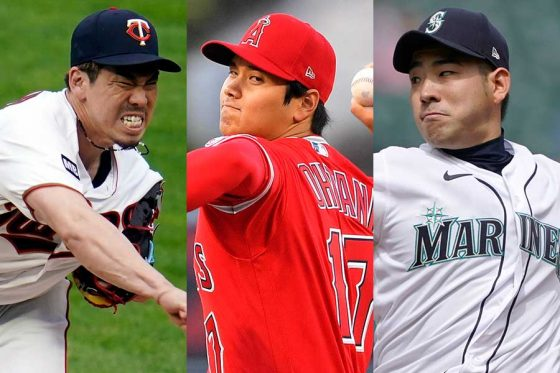 ツインズ・前田健太、エンゼルス・大谷翔平、マリナーズ・菊池雄星(左から)【写真:AP】
