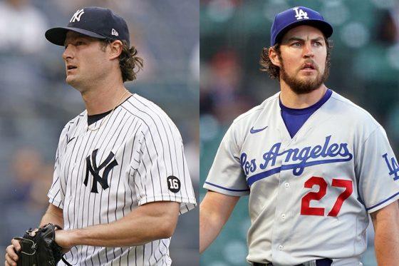 ヤンキースのゲリット・コール(左)とドジャースのトレバー・バウアー【写真:AP、ロイター】
