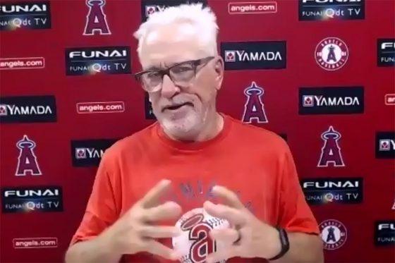 試合前の会見に臨んだエンゼルスのジョー・マドン監督(画像はスクリーンショット)