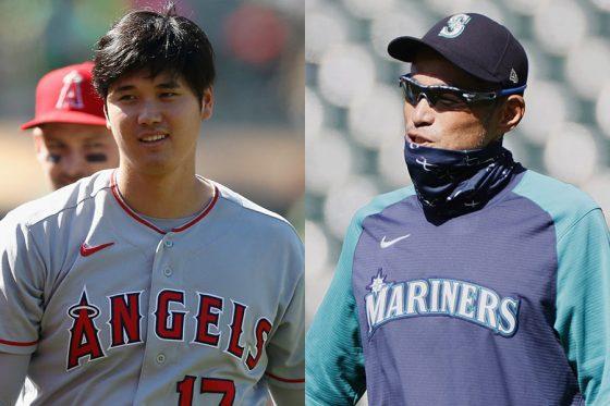 エンゼルス・大谷翔平(左)とイチロー氏【写真:Getty Images】