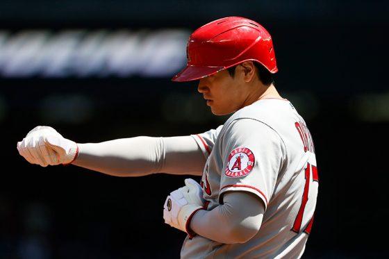 二塁打から三塁に進塁したエンゼルス・大谷翔平【写真:Getty Images】