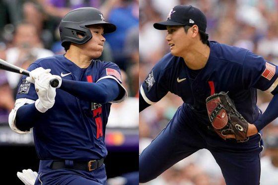 球宴に「1番・DH」兼先発投手で出場したエンゼルス・大谷翔平【写真:AP】
