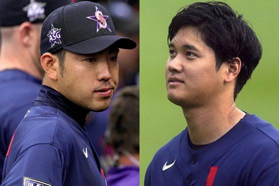 球宴に選出された菊池雄星(左)と大谷翔平【写真:AP】