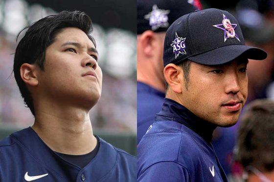 エンゼルス・大谷翔平(左)とマリナーズ・菊池雄星【写真:Getty Images、AP】