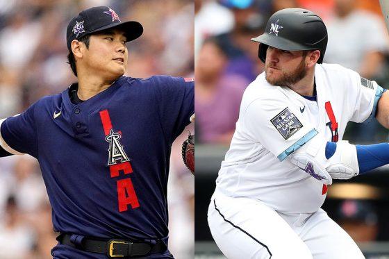 球宴に出場したエンゼルス・大谷翔平(左)とドジャースのマックス・マンシー【写真:AP、Getty Images】