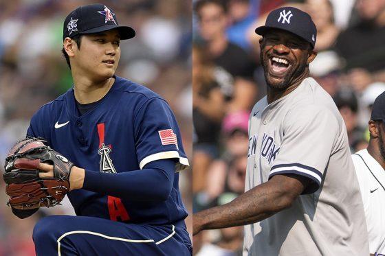エンゼルスの大谷翔平(左)とヤンキースなどで通算251勝を挙げたCC・サバシア氏【写真:Getty Images】