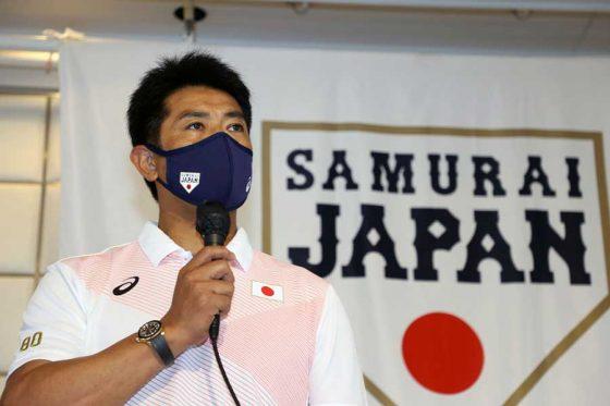 侍ジャパンのミーティングに臨んだ稲葉篤紀監督【写真:Getty Images】