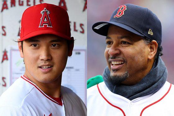 エンゼルス・大谷翔平(左)とメジャー通算555本塁打を誇るマニー・ラミレス氏【写真:Getty Images】