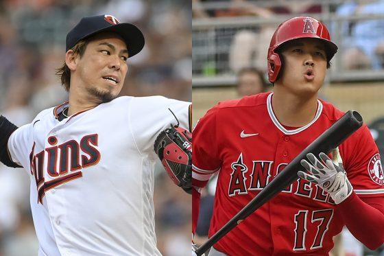 対戦した前田健太(左)と大谷翔平【写真:AP】