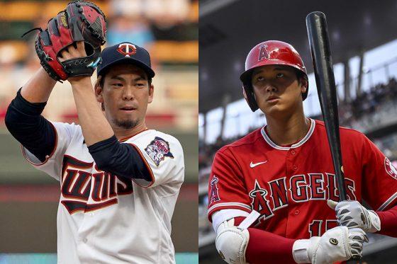対戦した前田健太(左)と大谷翔平【写真:Getty Images】