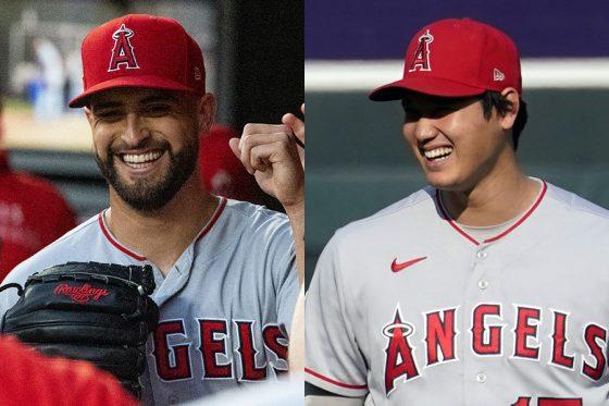 エンゼルスのパトリック・サンドバル(左)と大谷翔平【写真:Getty Images、AP】