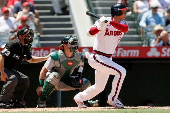 3回の第2打席で右中間への先制適時二塁打を放ったエンゼルス・大谷翔平【写真:AP】