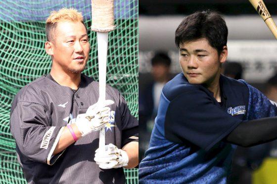 日本ハム・中田翔(左)と清宮幸太郎【写真:石川加奈子】