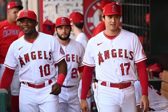 大谷翔平(右)らエンゼルスの選手たち【写真:Getty Images】