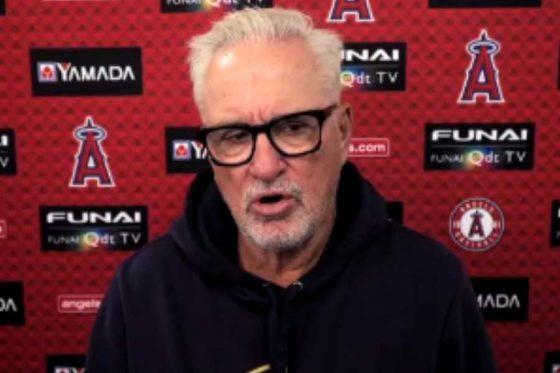 試合前のオンライン会見に臨んだエンゼルスのジョー・マドン監督(画像はスクリーンショット)