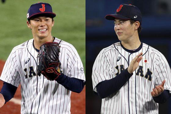 侍ジャパンとして東京五輪に出場した山本由伸(左)と森下暢仁【写真:Getty Images】