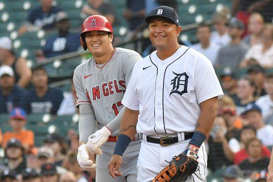 エンゼルス・大谷翔平(左)とタイガースのミゲル・カブレラ【写真:Getty Images】