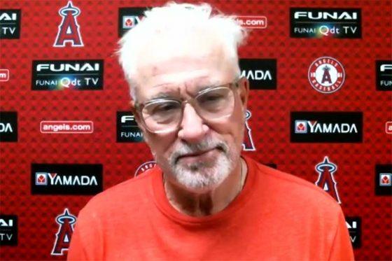 試合前のオンライン会見に応じたエンゼルスのジョー・マドン監督(画像はスクリーンショット)