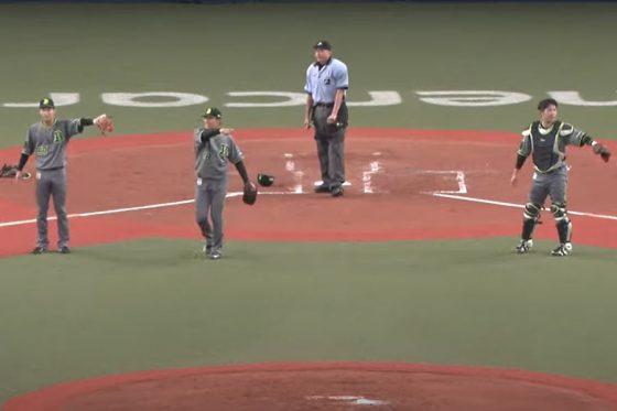 1つのバントで2度、三塁でアウトになるという珍プレーが飛び出した【画像:パーソル パ・リーグTV】