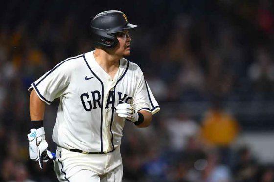 第2打席で適時三塁打を放ったパイレーツ・筒香嘉智【写真:Getty Images】
