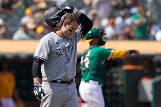 三振に倒れたヤンキースのアンソニー・リゾ【写真:AP】