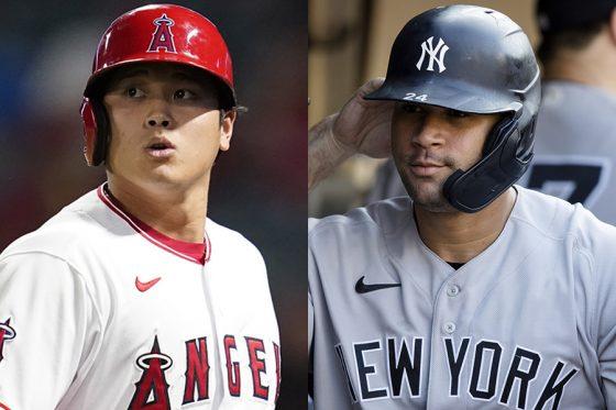 エンゼルス・大谷翔平(左)とヤンキースのサンチェス【写真:AP】