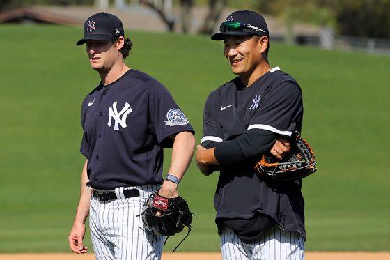 ヤンキース時代の田中将大(右)とゲリット・コール【写真:Getty Images】