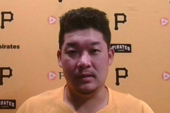 試合後のオンライン会見に応じたパイレーツ・筒香嘉智(画像はスクリーンショット)